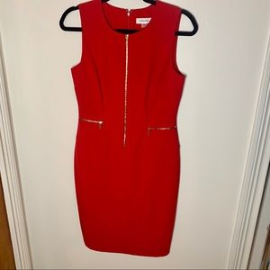 Calvin Klein | NWOT Red Dress with Zippers
